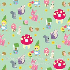 Handmade Toys, Printable Paper Crafts, Kawaii by Fantastic Toys / Gnome Girl with Forest Animals Kawaii Fabric