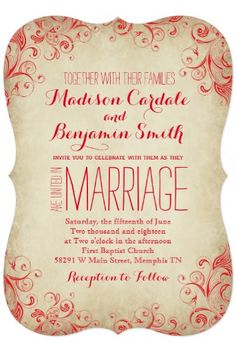 Elegant Vintage Red Flourish Wedding Invitations.  Two Sided Design.  Cheap Discount Sale prices of 40% OFF when you order 100+ Invites.  #wedding #rusticwedding #countrywedding