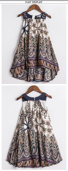 Kids Print Party Dress for Girls Children Bohemian Fashion Clothes flat display front and back