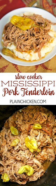 Slow Cooker Mississippi Pork Tenderloin - only 5 ingredients! Pork Ranch Au Jus butter and pepperonicni peppers. This is THE BEST pork tenderloin I've ever eaten! The flavor is AMAZING! Serve over grits potatoes rice or noodles. Also great on a bun Crock Pot Recipes, Crockpot Dishes, Crock Pot Slow Cooker, Pork Dishes, Crock Pot Cooking, Pressure Cooker Recipes, Pork Recipes, Cooking Recipes, Slow Cooker Pork Tenderloin