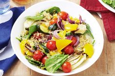 311 cal per serve - Eat a rainbow of colours with a quinoa salad combining the flavour of fennel, red onion and the goodness of baby spinach, yellow capsicum and zucchini. Quinoa Spinach, Zucchini Salad, Quinoa Salad Recipes, Baby Spinach, Dairy Free Recipes, Diet Recipes, Vegetarian Recipes, Roasted Capsicum, Cooking For A Crowd