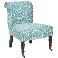Prepare to be dazzled with the fun Mosaic side chair. Sitting on solid birchwood legs and upholstered in a one of a kind blue and white mosaic print, this chair is features a truly unique design.