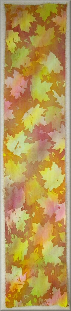 """Hand dyed Men's Silk Scarf in fall colours """"Maple Leaves"""" thick natural looking knobby dupioni silk by Laura Elderton - Silk in Art   www.etsy.com/shop/lauraelderton"""