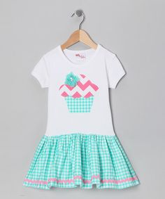Take a look at this Aqua & Pink Chevron Cupcake Dress - Infant, Toddler & Girls by Gus & Lola on #zulily today!