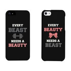 Beauty and Beast Need Each Other Couples Matching Cell Phone Cases for iphone 4, iphone 5, iphone 5C, iphone 6, iphone 6 plus, Galaxy S3, Galaxy S4, Galaxy S5 in Black