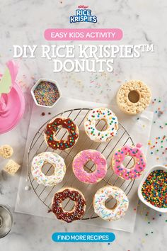 Learn how to prepare this easy DIY Donuts Rice Krispies Treats™ recipe like a pro. With a total time of only 20 minutes, you'll have a delicious snack ready before you know it. Rice Crispy Treats, Krispie Treats, Yummy Treats, Sweet Treats, Just Desserts, Delicious Desserts, Dessert Recipes, Rice Krispies, Donut Party