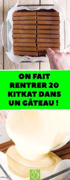 On fait rentrer 20 KitKat dans un gâteau ! 20 KitKat pour un gâteau au chocolat très original. #brownie #chocolat #cheesecake #dessert #gâteau #kitkat