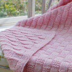 Pembe hasır işi örgü battaniye