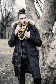 Paul for GEORGE by cocccon > non violence silk scarf collection. Model: Paul Gonzalez Sanchez Hair & Make-Up:  Angelique Waltenberg Photography & Styling:  Georg Andreas Suhr Label: GEORGE by cocccon Fashion Photography, Hair Makeup, Winter Jackets, Label, Punk, Collection, Winter Coats, Winter Vest Outfits, Party Hairstyles