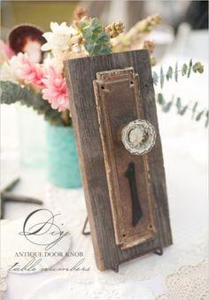#diy antique door knob table numbers. shabby chic #wedding #reception #decor wedding tables, vintage weddings, shabby chic, tabl number, alice in wonderland, wedding table numbers, vintage door knobs, vintage doors, antique doors
