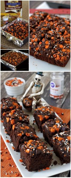 Easy Halloween Pumpkin Brownies Pumpkin brownies are a great fall dessert! This quick and easy Halloween Pumpkin Brownies recipe starts with a brownie mix, so it comes together in a flash. Dulces Halloween, Pasteles Halloween, Halloween Sweets, Halloween Baking, Halloween Goodies, Halloween Food For Party, Halloween Brownies, Halloween Deserts Recipes, Halloween Pumpkins