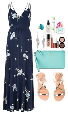 maxi dress + flat sandals for #summernights ! by siamel on Polyvore featuring River Island, Ancient Greek Sandals, Kate Spade, Ippolita, Marc Jacobs, Stila and Olivine