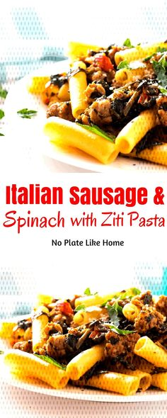 #italian #sausage #spinach #with #ziti #and Italian Sausage and Spinach with ZitiYou can find Sweet italian sausage and more on our website.Italian Sausage and Spinach with Ziti Sweet Italian Sausage, Cheesesteak, Spinach, Pasta, Beef, Canning, Website, Ethnic Recipes, Food