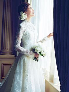 See related links to what you are looking for. Crazy Wedding, Vintage Lace Weddings, Modest Wedding Gowns, Perfect Bride, Bride Hairstyles, Bridal Looks, Wedding Designs, Designer Dresses, Flower Girl Dresses