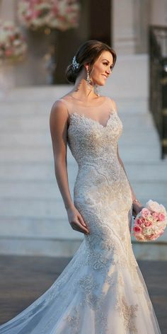 Stella York Fit and Flare Wedding Dress with Illusion Necklin style 6298 b / http://www.deerpearlflowers.com/stella-york-fall-2016-wedding-dresses/