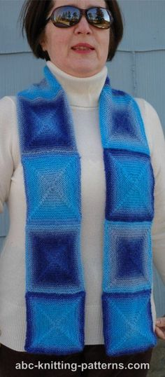 This creative knitted scarf pattern is ideal for self-striping yarn that features long color changes. While it looks like the Chilly Ice Cube Scarf is made up of ten separate blocks seamed together at the end, there's actually no seaming required. Double Pointed Knitting Needles, Circular Knitting Needles, Loom Knitting, Knitting Patterns Free, Free Knitting, Scarf Patterns, Knitted Shawls, Crochet Scarves, Knitting For Charity