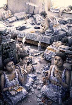 日本畫家石田徹也(Tetsuya Ishida)的超現實畫作