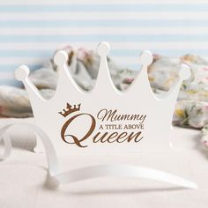 Personalised White Wooden Crown - Title Above Queen | GettingPersonal.co.uk