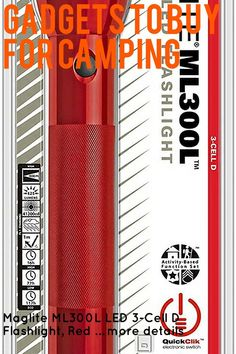 (This is an affiliate pin) Maglite ML300L LED 3-Cell D Flashlight, Red Camping Lights, Flashlight, Gadgets, Led, Activities, Gadget