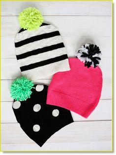 pom pom hat ♥ http://felting.craftgossip.com/2014/11/15/have-a-sweater-make-a-pom-pom-hat/