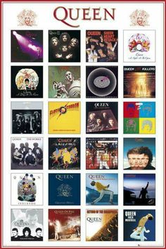 This maxi poster showcases the covers of the band's album. You will find here unmissable albums such as Innuendo, Live at Wembley, Sheer Heart Attack, Queen II and the Return of the Champions. Which is your favourite Queen album? Our Maxi Poster Queen Ii, I Am A Queen, Rock And Roll, John Deacon, Albums Queen, Queen Album Covers, Rock Album Covers, Queen Banda, Bryan May
