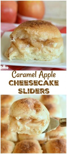 Caramel Apple Cheesecake Sliders Caramel Apple Cheesecake Sliders are the most fun, and easiest, way to make a fall dessert! And yes, it's okay to eat them for breakfast too! Fall Dessert Recipes, Fall Desserts, Just Desserts, Fall Recipes, Delicious Desserts, Breakfast Recipes, Yummy Food, Fun Deserts To Make, Awesome Desserts