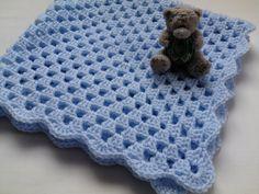 Crochet PATTERN Baby Blanket, tutorial, PDF file, blue baby blanket