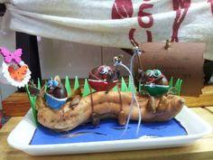 Castañas pescando sobre boniato