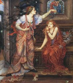 Queen Eleanor and Fair Rosamund Pre Raphaelite Evelyn De Morgan art for sale at Toperfect gallery. Buy the Queen Eleanor and Fair Rosamund Pre Raphaelite Evelyn De Morgan oil painting in Factory Price.