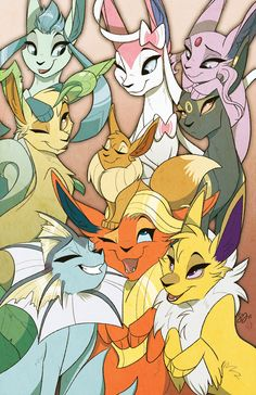 Eeveelutions print for BronyCon and Nightmare Nights 2015