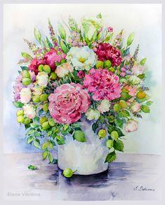 Просмотреть иллюстрацию Яркие пионы с зелеными ягодами из сообщества русскоязычных художников автора Елена Вавилина в стилях: Академический рисунок, графика,