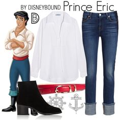 Prince Eric by leslieakay on Polyvore featuring Prada, 7 For All Mankind, rag & bone, Allurez, Brooks Brothers, disney, disneybound and disneycharacter