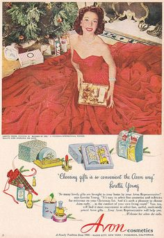 A vintage Avon Christmas ad from 1952 featuring  Loretta Young.