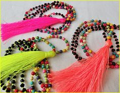Neon Angels  Tassel bead necklace with neon by Brightnewpenny, $25.00