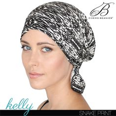 KELLY   Chemo Beanies® Stylish, slip-on, comfortable head covers for hair loss due to chemotherapy for cancer treatments.