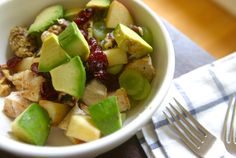 Avocado chicken Waldorf salad.  Looks yummy except I don't like walnuts so I would probably use pecans instead.