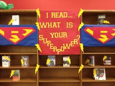 Our newest book display for our Superhero theme.The Endeavors of a Beta Librarian Library Themes, Library Displays, Classroom Displays, Book Displays, Library Ideas, Library Decorations, Library Events, Library Design, Superhero Classroom Theme