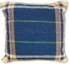 Blue Plaid Needlepoint Pillow