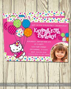 Hello Kitty Invitation & Thank You Card par DesignbyKaytee sur Etsy, $8,00