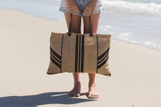 just landed! our hot new stripe jute bag now available to order www.thebeachpeople.com.au