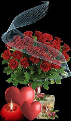 Beautiful Bouquet Of Flowers, Beautiful Flowers Wallpapers, Beautiful Rose Flowers, Love Rose, Beautiful Love Pictures, Beautiful Gif, Love Images, Happy Valentine Gif, Valentines