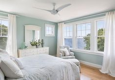 Palladian blue bedroom blue living room traditional with red bm palladian blue bedroom that wife home tour marsha guest room new Coastal Bedrooms, Coastal Living, Coastal Curtains, Coastal Bedding, White Curtains, Bedroom Paint Colors, Paint Colours, Home Paint Colors, Beach Bedroom Colors