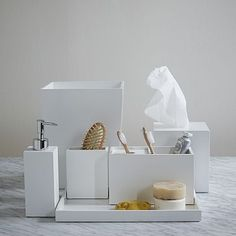 Guest Bath Accessories (1) Tray (1) Wastebasket (1) Tissue Cover (2) Soap Pump + (2) Toothbrush Cup Lacquer Bath Accessories - White #westelm