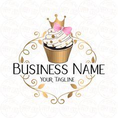 Custom logo design cupcake gold crown cupcake logo bow pink | Etsy Cake Logo Design, Custom Logo Design, Custom Logos, Logo Cupcake, Cupcake Bakery, Cupcake Icon, Cupcake Cupcake, Bakery Cakes, Crown Cupcakes