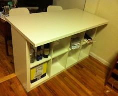 kitchen island using expedit (or kallax), inserts with doors