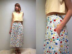 FULL FLORAL Skirt Full Skirt PRAIRIE Skirt Cotton Skirt Midi Skirt High Waist Skirt White Skirt Vintage 80s Skirt with Pockets Summer Skirt