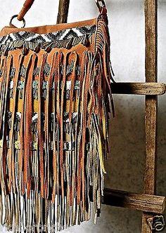 5579829edd NEW Free People clay suede multi color aztec beaded Sundown Crossbody Bag
