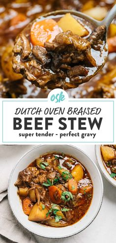 This is hands down the absolute best beef stew! Braised low and slow in a dutch oven with tender fall apart shreds of beef, a rich savory broth, and chunks of carrots, celery, and potatoes, beef stew is the definition of comfort food. This one pot recipe is naturally Whole30, paleo, and grain free, so it's a meal anyone can (and will!) love. #beefstew #dutchoven #whole30 #onepotmeal