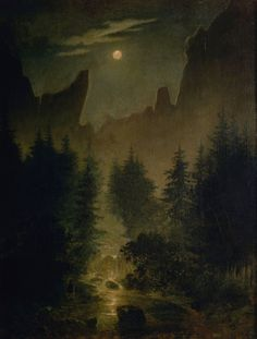 Uttewalder Grund, a side valley of the Elbe valley, south of Lohmen in the Saxon Switzerland by Caspar David Friedrich circa 1825 Oil on canvas (Lentos Art Museum) Caspar David Friedrich Paintings, Famous Art Paintings, Oil Painting Reproductions, Mountain Landscape, Pictures To Paint, Oil Painting On Canvas, Landscape Paintings, Landscapes, Art Museum