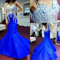 Royal Blue Prom Dress,Mermaid Prom Dress,Taffeta Prom Gown,Backless Prom Dresses,Sexy Evening Gowns,Straps Evening Gown,Open Back Party Dress For Teens